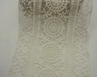 1yard  VTG Style Embroidery scalloped Fabric Tulle Mesh Net Lace Trim 15cm wide #605