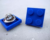 Pin made with LEGO Brick 2x2 - Blue