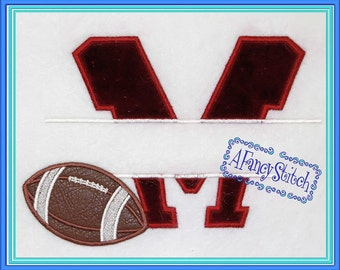 Item 233 Football M Split (Machine Appliqué Embroidery Design)
