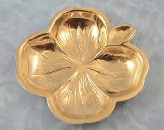 14K Solid Gold Four Leaf Clover Tray Ashtray/Vanity/Jewel 20.51 Gms 2.65 x 2.7 inch