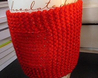 Red Sparkly Mug Hug, Red Mug Hug, Sparkly Mug Hug, Red Sparkly Cosie, Coffee Cosie, Red Coffee Cosie, Yarn Mug Hug, Wool Mug Hug, Red Cosie