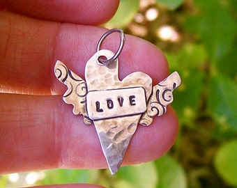 Winged Heart Sterling Love Pendant , Hammered Necklace, Stamped Silver Jewelry