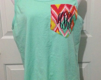 Monogrammed Comfort Color Pocket Tank Top