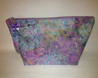 Floral Batik Lavender Makeup Bag