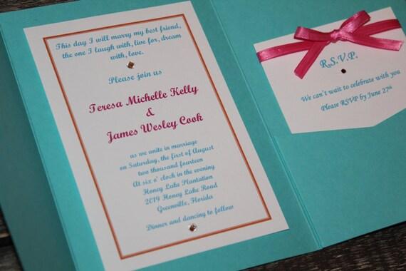 Fuschia And Orange Wedding Invitations: Aqua Blue And Hot Pink Wedding Invitations By