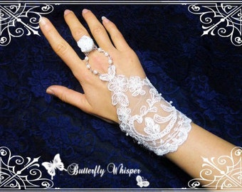 Gothic Victorian style handmade white venise lace wrist cuff with chain and ring