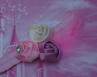 pink headband, pink  Baby headband ,pink  Rosette headband- pink Newborn headband , Baby girl headband - Pink rose headband