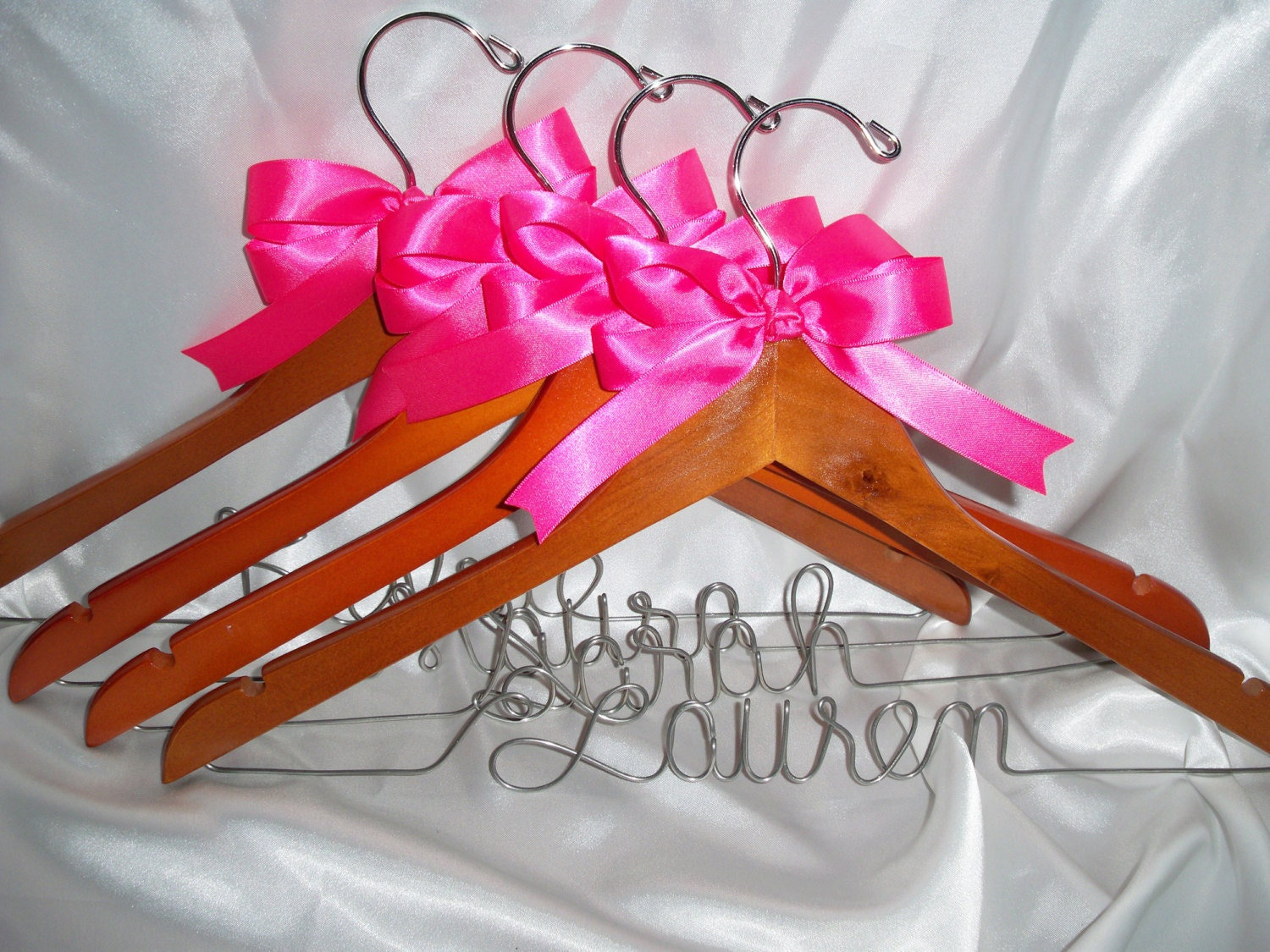 Bridesmaid hangers set of 4 personalized bridesmaid gift for Wedding dress hangers personalized