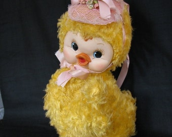 Rushton star creations Rubber face Easter Duck doll-Musical 1950's