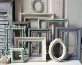 Mint Green and Gray Painted Picture Frames, Made to ORDER Set of 10 Vintage Frames, Sea Glass Green, Grey and Ivory Frames, Ornate Frames