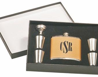 Engraved Leather Flask Set