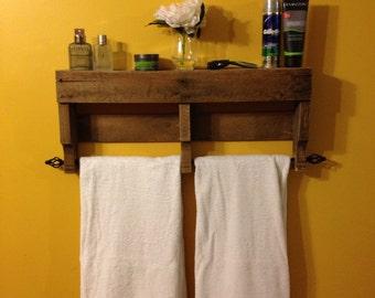 The **ORIGINAL** Rustic Pallet Towel Rack Shelf Bathroom Wall Hanging