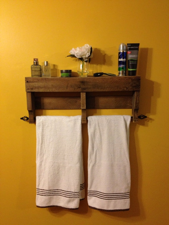 The **ORIGINAL** Rustic Pallet Towel Rack Shelf Bathroom Wall Hanging