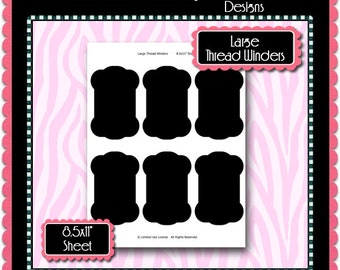 Lg. Thread Winders Template Instant Download PSD and PNG Formats (Temp263) Digital Bottle Cap Collage Sheet Template