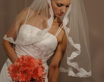 "Mantilla wedding veil 1 layer Gather top 34"" length past elbow - lace trim with beaded pearls."
