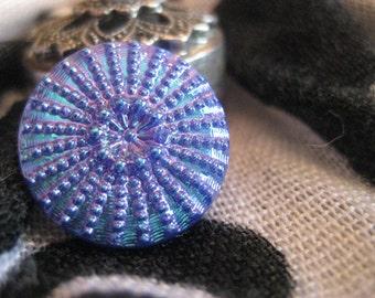 Sunburst Design in Iridescent Blue Czech Glass Button 18mm