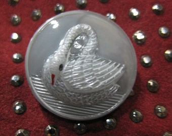 Serene Swan on Grey Czech Glass Button 27mm