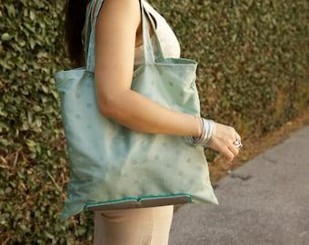 Turquoise/Grey Polka Lightweight Dot Zip-Up Shopping Bag