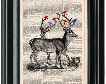 Deer with Birds dictionary art print book page antique vintage dictionary print wall art, Victorian decor, Deer Print
