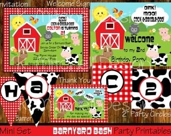 Barnyard Bash Birthday Invitation Set, Farm Animal DIY Printable Party Package, Birthday Banner, Cupcake Circles, Welcome Sign, Thank You