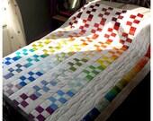 Rainbow Geometric Patchwork Quilt - wedding quilt, multicoloured white rainbow quilt, rainbow bedspread, wedding gift - MADE TO ORDER (562)