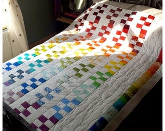 Rainbow Geometric Patchwork Quilt - wedding quilt, multicoloured white rainbow quilt, rainbow bedspread, wedding gift - MADE TO ORDER (562)
