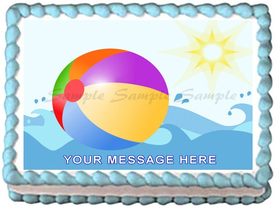 Edible Cake Decorations Beach : SUMMER BEACH BALL Edible image cake topper 1/4 by ...