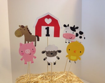 6 Piece Farm Animal Themed Centerpiece- Red or Pink Barn