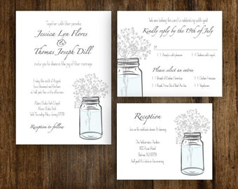 Mason Jar Baby's Breath Wedding