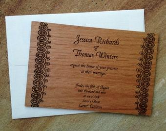 Popular items for laser einladung on etsy for Hochzeitseinladung holz