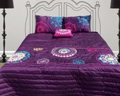 """Suzani bedding, embroidery, applique, purple polytafetta, quilted bedspread 90""""X102"""", 2 pillows18""""X27"""",1 throw pillow 16""""X16"""""""