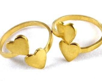 2x Brass Heart Wrap Rings - J008