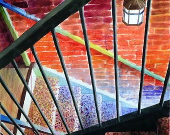 Original Watercolor Painting - Criss-Cross Staircase