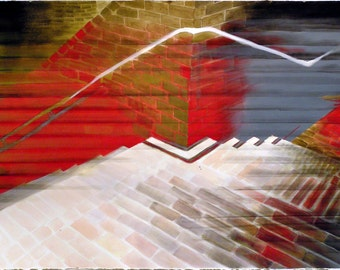 Original Watercolor Painting - Bisecting Stairs