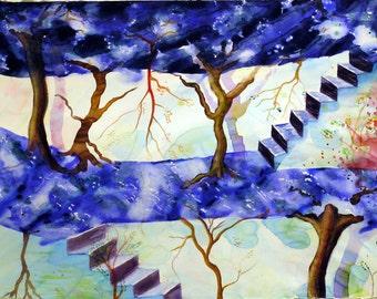 Original Watercolor Painting - Surreal Stairs