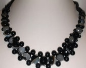 Beaded Weaved Blue Czech Glass and Black Necklace Set