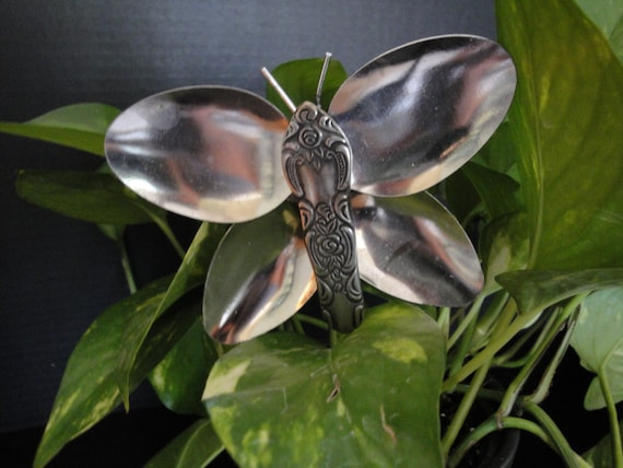 Recycled Silverware Butterfly Stake