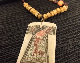 Vintage Asian inspired sterling silver, stone, and bone necklace, scrimshaw pendant, etching of kimono