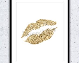 Gold Glitter Lips Print - Wall Deco r - Home Decor - Gold Glitter Lips ...