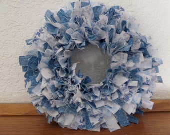 "6"" ""Wedgewood Blue"" Mini Rag Wreath Wall Decor"