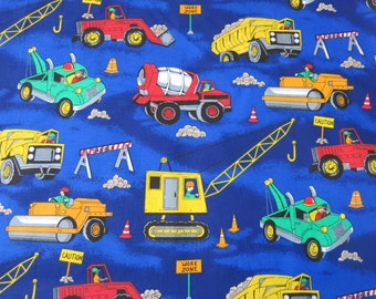 "1/2 yard of 100% cotton Truck ""construction zone"" fabric"