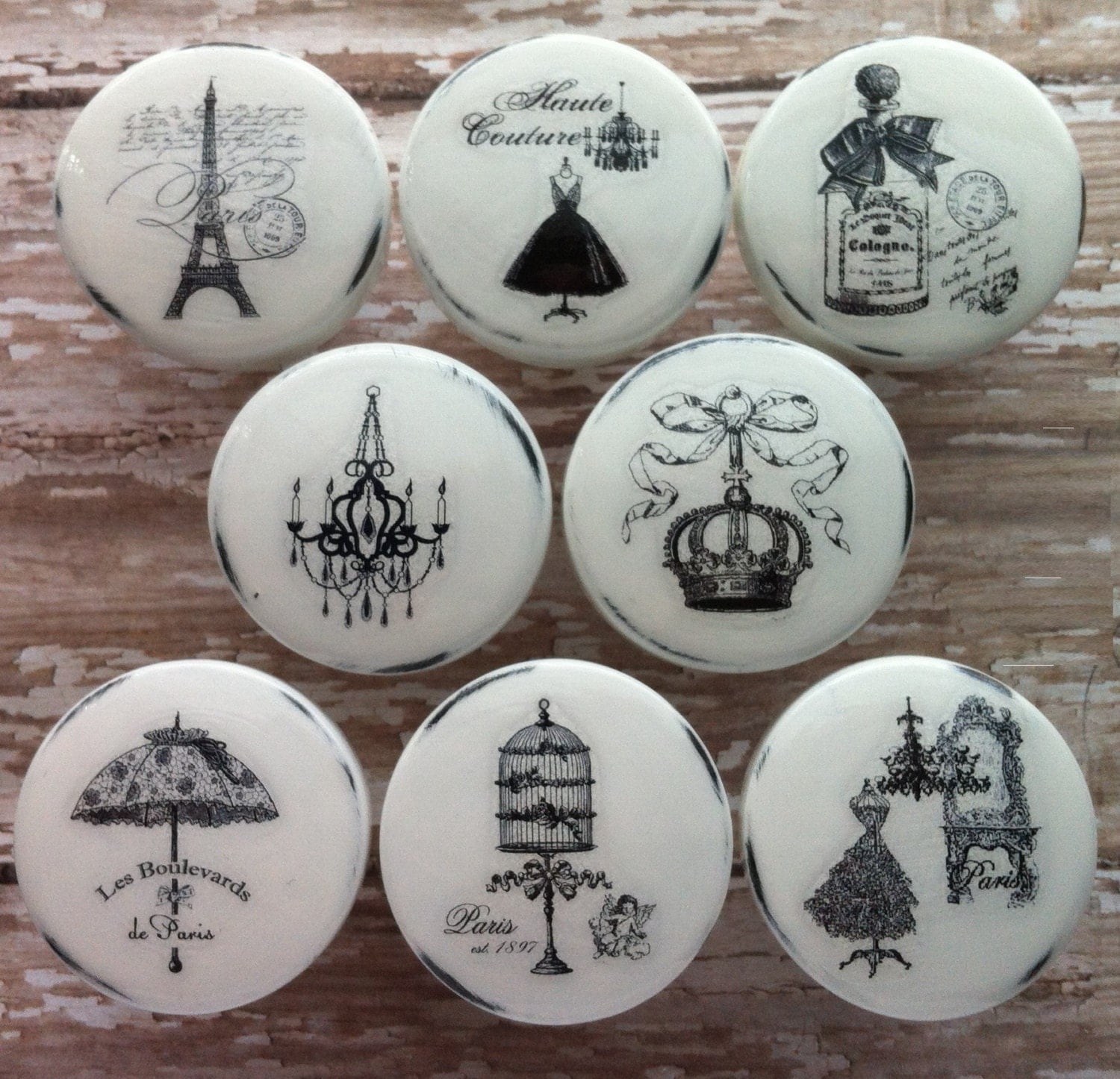 Paris couture knobs french vintage dresser drawer handmade for Ameublement shabby chic