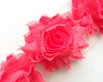 Shabby Rose Flower Trim--Hot Pink