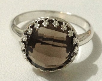 Vintage Inspired Smoky Quartz Sterling Silver Ring