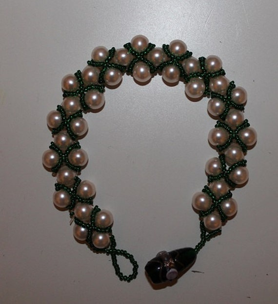 Venetian Beadwork Ivory/Green/Blue Bracelet