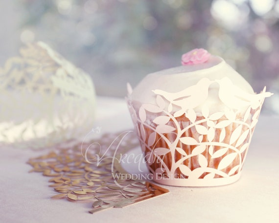 Love Birds Silhouette Wedding Cupcake Wrapper