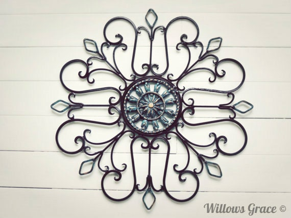 Outdoor Wall Art Metal Scroll : Metal wall scroll outdoor decor medallion by