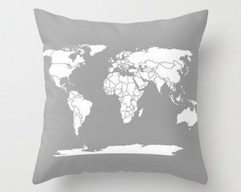 Pillow - Grey and White Map of the World throw Pillow-  travel Decor - modern home, apartment, dorm, wanderlust