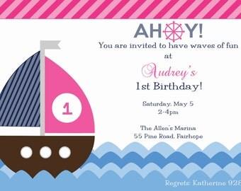 Girl's Nautical Sailboat Birthday Invitation