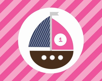 Girl's Nautical Sailboat Birthday Water bottle labels